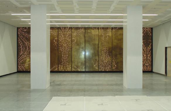 Antique Patina Brass perforated backlit cladding panels