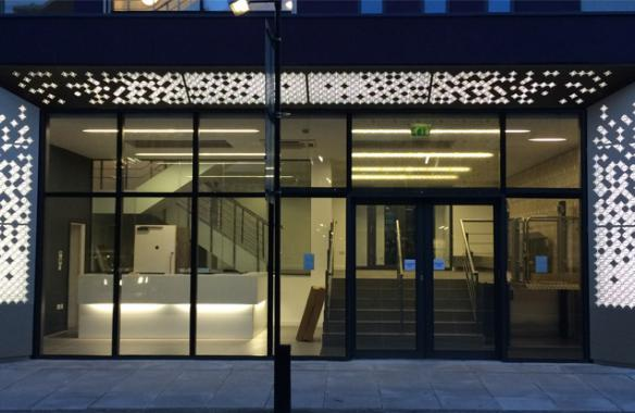 St Elizabeths House - anodised punched cladding - backlit LED illumination